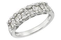 1 Carat Diamond 14K White Gold Anniversary Ring