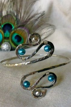 Armband, Upper Arm Cuff, Armlet - Silver and Teal or CUSTOM CREATED. $25.00, via Etsy.