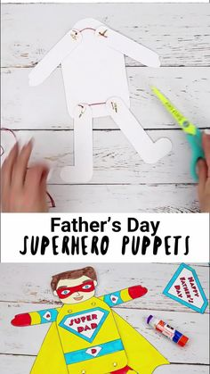 Show Dad he's a real superhero with fun Father's Day Superhero Puppets! Pull the string to make his arms and legs move. Printable templates in black and white and colour with 9 multicultural versions to choose from. Such a fun Father's Day gift idea for kids to make. #kidscraftroom #fathersday #puppets #superhero #giftideas #fathersdaygifts #fathersdayideas #kidscrafts Easy Preschool Crafts, Preschool Art Projects, Creative Activities For Kids, Creative Arts And Crafts, Rainy Day Activities, Arts And Crafts Projects, Literacy Activities, Creative Kids, Crafts For Kids