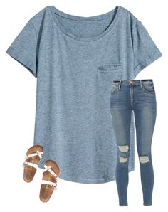 """""""life updateeee"""" by amararangwala ❤ liked on Polyvore featuring H&M, Frame and Birkenstock"""