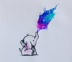 This just makes me smile. Would love this as a tattoo #elephant #tattoo