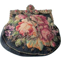 Magnificent Antique Jeweled Frame Floral Needlepoint Purse