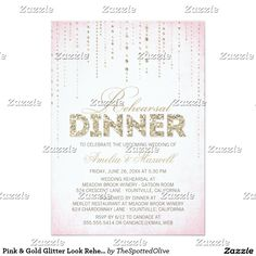 Pink & Gold Glitter Look Rehearsal Dinner