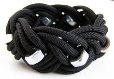 Black Hex Nut Rope Bracelet (Triple Braid).