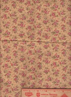 "Mustard Pink Flowers bolt end scrap applique fabric 16"" by 44"""