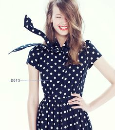 Just Visiting: Partial JCrew Catalog aka JCrew Style Guide August navy blue and white polka dot dress, cute outfits dresses, church girl outfit Mode Outfits, Fashion Outfits, Womens Fashion, Fashion Weeks, Fashion Shoes, Looks Style, Style Me, Quoi Porter, J Crew Style