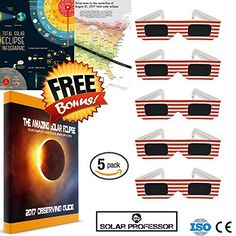 Solar Eclipse Glasses 2017 CE and ISO Standard Viewing Protect Eyes From Watching Solar Eclipse For Men & Women Stylish Solar Eclipse Eyewear Safety - Bonus Accessory eBook, Poster, and Map  SIZE: The Solar Eclipse Viewing Glasses are a comfortable fit on heads of all sizes  STYLISH DESIGN: USA and Solar Eclipse design glasses are the most popular styles to wear  PROTECTION: Our glasses filter 100% of harmful ultra-violet, 100% of harmful infrared, and 99.999% of intense visible light....