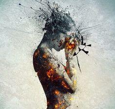 Dramatic burning lady painting