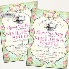Tea Party Bridal Shower Invitations High Tea Mint Pink Ivory Vintage Victorian Style Shabby Chic Digital Printable Antique Tea Pot No.752