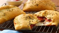 Cheesy pepperoni pockets w/ Pillsbury® Big & Flaky dinner rolls - surprisingly yummy (also, quick and easy)