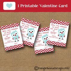 Kids Valentine Card Owl Valentine DIY PRINTABLE Christian Scripture Bible Verse Valentine for Boys Children