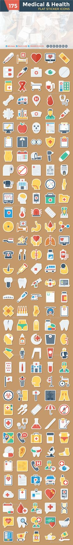 Medical & Health Flat Paper Icon Design Template - Icons Design Template PSD, AI Illustrator. Download here: https://graphicriver.net/item/medical-health-flat-paper-icon/19374062?ref=yinkira
