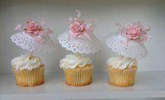 Cumpleaños seis Shabby Chic Parasol Cupcake Toppers dia de la