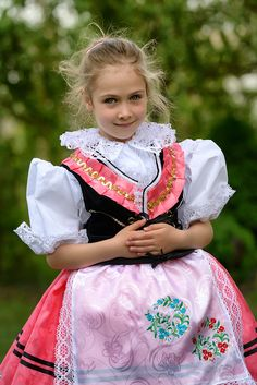 a stylized Moravian folk costume, Czech republic
