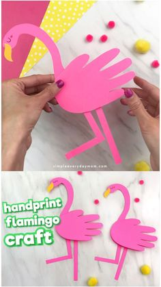 Handprint Flamingo Card Craft for Kids – This simple flamingo craft is a fun and simple summer craft for kids. It will – Handprint Flamingo Card Craft for Kids – This simple flamingo craft is a fun and simple summer craft for kids. Diy Crafts Easy At Home, Summer Crafts For Kids, Fun Diy Crafts, Summer Activities For Kids, Creative Crafts, Preschool Crafts, Diy For Kids, Craft Kids, Summer Diy