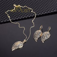 Two Tone Gold Plated Leaf Necklace/Earring Jewelry Set #Oumeily