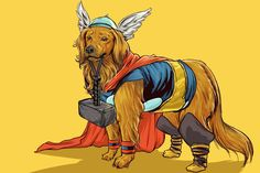 Artist's Marvel Characters Drawn As Badass Superhero Dogs Are So Cute It Hurts