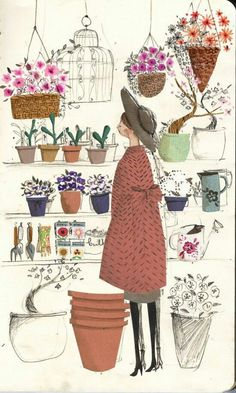 The flower shop par Emma Block Art And Illustration, Illustrations And Posters, Buch Design, Art Design, Chiaroscuro, Art Inspo, Painting & Drawing, Watercolor Art, Illustrators