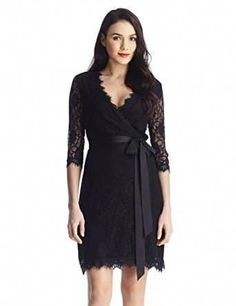Women's Cocktail Dresses - Grapent Womens Lace 34 Sleeves Midi Business Cocktail Short Formal Wrap Dress * Visit the image link more details. Black Funeral Dress, Dress Black, Cheap Boutique Clothing, Short Dresses, Formal Dresses, Wrap Dresses, Wedding Dresses, Women's Dresses, Nice Dresses