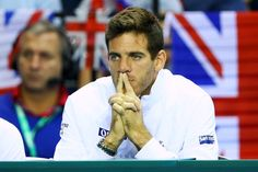 Juan Martin Del Potro Photos Photos - Juan Martin del Potro of Argentina watches Leonardo Mayer of Argentina during his singles match against Dan Evans of Great Britain on day three of the Davis Cup semi final between Great Britain and Argentina at Emirates Arena on September 18, 2016 in Glasgow, Scotland. - Great Britain v Argentina: Davis Cup Semi Final 2016 - Day Three