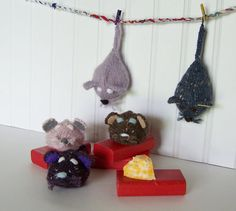 Cat Toy  Hand Knit Wool Mouse Cat Lover by GreenbriarCreations, $10.95
