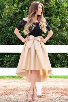 Short Sleeves Black and Gold Homecoming Dress with Lace Top/Bow Denim Skirt Outfits, Casual Dress Outfits, Girly Outfits, Pleated Skirt, Dress Skirt, Lace Dress, Frack, Ladies Dress Design, Look Fashion