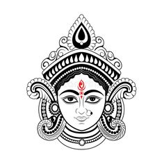 Illustration about Illustration of Goddess Durga Face in Happy Durga Puja Subh Navratri Indian religious header banner background. Illustration of culture, bengali, bengal - 158180335 Durga Maa Paintings, Durga Painting, Kerala Mural Painting, Indian Art Paintings, Madhubani Painting, Shiva Art, Krishna Art, Hindu Art, Healing Crystals