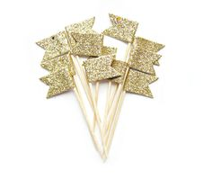 12 Gold Glitter Flag Cupcake Toppers  Washi Tape by Pelemele, £4.90 $8.05