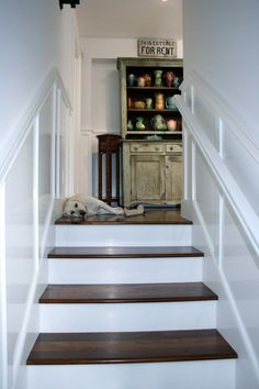 Stupendous Tips: High Wainscoting Living Room wainscoting hallway stairs.Wainscoting Island Board And Batten wainscoting foyer trim work. Wainscoting Kitchen, Dining Room Wainscoting, Wainscoting Ideas, Wainscoting Height, Painted Wainscoting, Black Wainscoting, Painted Stairs, Wood Stairs, Basement Staircase