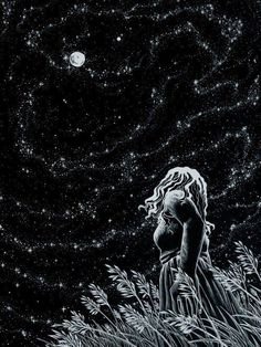 Summer Night ~ by artist AkagenoSaru - technical pen with white ink on black paper (stars, moon, art, illustration) Art And Illustration, Storyboard Illustrations, Ink Illustrations, Sacred Feminine, Wow Art, Night Skies, Sky Night, Dream Night, Cold Night