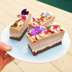 raw vegan layer cake with a chocolate base, vanilla marshmallow, hazelnut mousse,   salted caramel and banana fudge layer and raspberry cheesecake icing