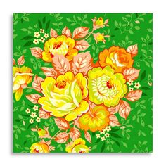 Heather Bailey Fabric Rose Bouquet Green from by imaginefabric. $4.95, via Etsy.