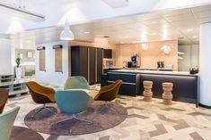 Aller office cafe designed by dSign Vertti Kivi & Co Cafe Design, Offices, Conference Room, Table, Furniture, Home Decor, Cafeteria Design, Decoration Home, Room Decor