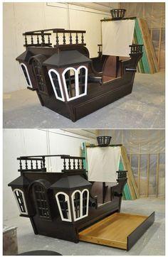 Pirate Room Decor Boys - Pearl Pirate Ship Bed with Trundle. Pirate Room Decor, Boys Room Decor, Boy Room, Kids Pirate Room, Pirate Bedding, Pirate Bedroom, Kids Bedroom, Pirate Nursery, Pirate Ship Bed