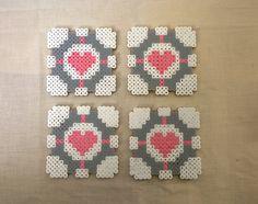 Portal companion cube coasters hama perler beads by KimsHandmadeCave