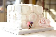 the wedding cake my sister wants <3  the companion cube wedding cake