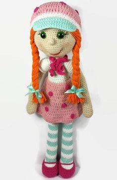 Crochet doll, amigurumi doll, strawberry doll, handmade doll, amigurumi toy, baby doll, girls room decor, large crocheted doll, rag doll