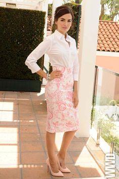 Camilla Belle in Carolina Herrera.