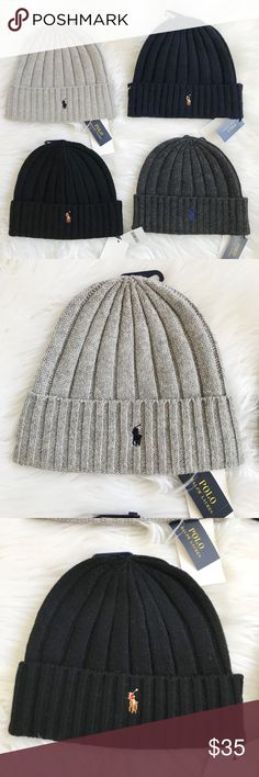 Polo Ralph Lauren wool ribbed beanie winter hat Brand new with tag  f64b2eeb96e9