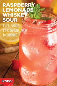 One sip of this Raspberry Lemonade Whiskey Sour recipe and you'll be hooked on its refreshing and fruity flavor! Three simple ingredients are all it takes to whip up a batch of citrus-infused cocktail for your friends this summer. Simple Whiskey Cocktails, Simple Cocktail Recipes, Whiskey Mixed Drinks, Whiskey Lemonade, Summer Cocktails, Healthy Cocktails, Raspberry Lemonade, Raspberry Cordial, Raspberry Punch