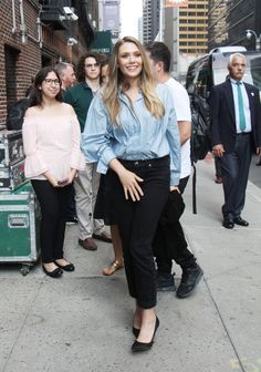 Elizabeth Olsen arriving at the Late Show in New York City on August 3, 2017.
