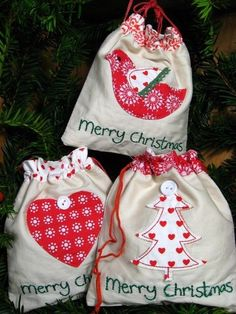 GISELA GRAHAM Christmas drawstring bags SET OF 3 scandi nordic style giftbags