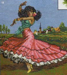 point de croix danseuse espagnole - cross stitch spanish dancer Cat Cross Stitches, Vintage Cross Stitches, Cross Stitch Embroidery, Cross Stitch Patterns, Elsa, Spanish Dancer, Perler Bead Art, Fused Glass Art, Tapestry Crochet