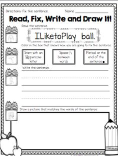 Here is a sample of the Sentence Fixers printable. Perfect for teaching writing conventions. First Grade Writing, Pre Writing, Writing Workshop, Kindergarten Writing, Kindergarten Classroom, Teaching Writing, Teaching Ideas, Writing Worksheets, Writing Activities