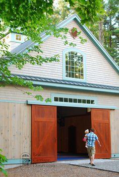 Sliding barn doors, beautiful and space-saving.