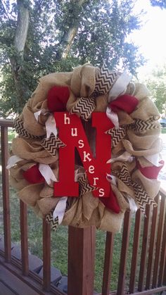 Nebraska Huskers Burlap Wreath by CreativeBurlapByAlex on Etsy, $50.00