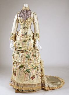 1882-1883 French silk dress. I think I would wear this one to die in.