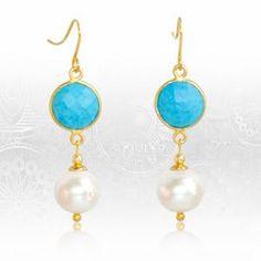 Regenz Arizona Turquoise and Pearl Retro Style Earrings Brand New Stone Jewelry, Retro Fashion, Brand New, Turquoise, Drop Earrings, Jewels, Sterling Silver, Retro Style, Arizona
