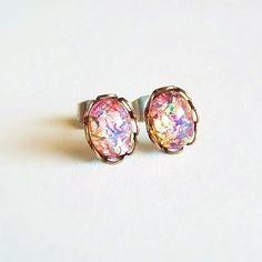 Tiny Fire Opal Post Earrings Small Vintage Glass Studs Hypoallergenic Opal Jewelry