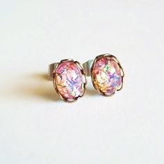 Tiny Fire Opal Post Earrings Small Vintage Glass Studs Hypoallergenic Opal Jewelry